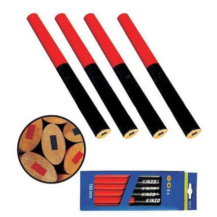 Strend Pro ovál kék-piros ács ceruza, 175 mm 12 db-os,